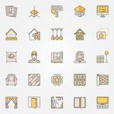 Iconos coloridos caseros del diseño interior ilustración del vector