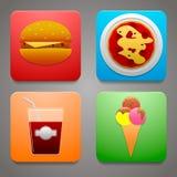 Iconos coloridos con una comida deliciosa para sus alimentos de preparación rápida del sitio Foto de archivo
