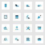 Iconos coloridos constructivos fijados Colección de mantenimiento, de cavador, de vidrio y de otros elementos También incluye sím Foto de archivo libre de regalías