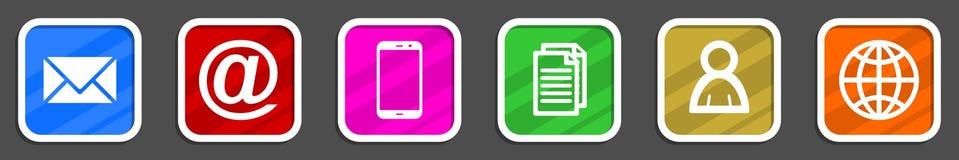 Iconos coloridos de Internet del diseño plano fijados Fotos de archivo
