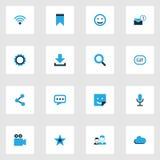Iconos coloridos de Internet fijados Colección de rueda dentada, de parte, de nube y de otros elementos También incluye símbolos  Fotografía de archivo libre de regalías