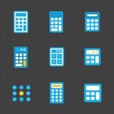 Iconos coloridos de la calculadora del vector fijados stock de ilustración