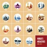 Iconos coloridos de la ciudad, iconos planos modernos de los destinos del viaje del estilo, stock de ilustración