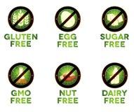 Iconos coloridos de la dieta, intolerancia de la comida Foto de archivo libre de regalías