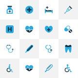 Iconos coloridos de la droga fijados Colección de elementos del latido del corazón, del termómetro, dentales y otro También inclu Foto de archivo libre de regalías