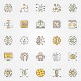 Iconos coloridos de la inteligencia artificial Símbolos del AI del vector Imagen de archivo libre de regalías