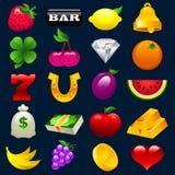 Iconos coloridos de la máquina tragaperras Imagenes de archivo