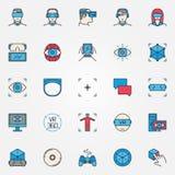 Iconos coloridos de la realidad virtual Fotos de archivo libres de regalías
