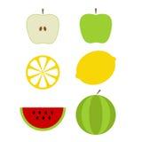 Iconos coloridos de las frutas Foto de archivo libre de regalías