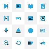 Iconos coloridos de las multimedias fijados Colección de top Fotos de archivo
