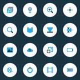 Iconos coloridos de las multimedias fijados La colección de parte inferior, enfoca adentro, poder y otros elementos También inclu Imagen de archivo libre de regalías