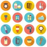 Iconos coloridos de los cosméticos del diseño plano Imagen de archivo