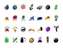 Iconos coloridos de los servicios del recorrido y del coche Fotografía de archivo libre de regalías