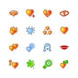 Iconos coloridos del amor Foto de archivo