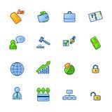 Iconos coloridos del asunto Stock de ilustración
