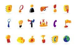 Iconos coloridos del asunto y del éxito Fotografía de archivo