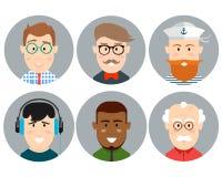 Iconos coloridos del círculo de las caras del varón fijados en estilo plano de moda Fotos de archivo libres de regalías
