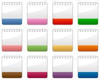 Iconos coloridos del calendario en blanco fijados stock de ilustración