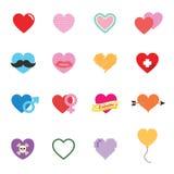 Iconos coloridos del corazón de la tarjeta del día de San Valentín Foto de archivo