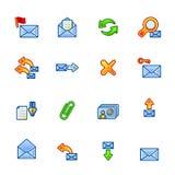 Iconos coloridos del correo Ilustración del Vector
