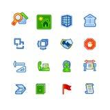 Iconos coloridos del edificio Stock de ilustración
