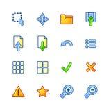 Iconos coloridos del espectador Ilustración del Vector