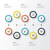 Iconos coloridos del esquema de la música fijados Foto de archivo libre de regalías