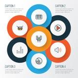 Iconos coloridos del esquema de la música fijados Imagen de archivo