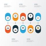 Iconos coloridos del esquema de la música fijados Colección de arpa, de barril, de amplificador y de otros elementos También incl Imagen de archivo libre de regalías