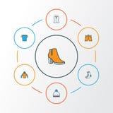 Iconos coloridos del esquema de la ropa fijados Colección de botas femeninas, calcetines, Beanie And Other Elements También inclu libre illustration