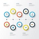 Iconos coloridos del esquema de la ropa fijados Colección de gorrita tejida Imagen de archivo libre de regalías