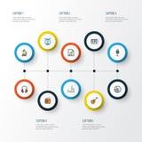 Iconos coloridos del esquema de las multimedias fijados Colección de arpa, de lista, de mezclador y de otros elementos También in Fotos de archivo