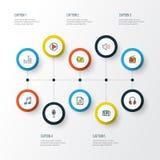 Iconos coloridos del esquema de las multimedias fijados Colección de sistema, de amplificador, de plantilla y de otros elementos  Imagen de archivo