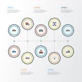 Iconos coloridos del esquema del automóvil fijados Imágenes de archivo libres de regalías