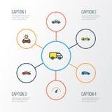 Iconos coloridos del esquema del automóvil fijados Colección de auto, de eléctrico, velocidad y otros elementos También incluye s libre illustration