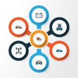 Iconos coloridos del esquema del automóvil fijados Colección de res muerta, de automóvil, de lavado y de otros elementos También  libre illustration