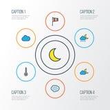 Iconos coloridos del esquema del clima fijados Colección de helada, de escala, de tempestad y de otros elementos También incluye  Imagenes de archivo