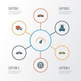 Iconos coloridos del esquema del coche fijados Colección de deporte Imagenes de archivo