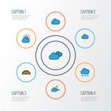 Iconos coloridos del esquema del tiempo fijados Colección de elementos cubiertos del tiempo, del chaparrón, nublado y otro tambié Fotografía de archivo