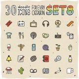 30 iconos coloridos del garabato fijaron 8 stock de ilustración