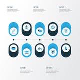 Iconos coloridos del negocio fijados Colección de estadísticas, correo, encargado And Other Elements También incluye símbolos tal libre illustration