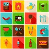Iconos coloridos del partido del Bbq Foto de archivo