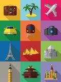 Iconos coloridos del recorrido Fotografía de archivo
