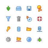 Iconos coloridos del servidor de archivos Ilustración del Vector