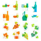 Iconos coloridos del vino Fotos de archivo libres de regalías