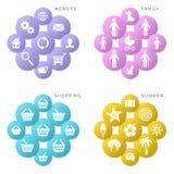 Iconos coloridos del web del vector Fotografía de archivo