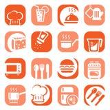 Iconos de la cocina del color fijados stock de ilustración