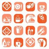 Tipo conjunto de la comida del color del icono Imágenes de archivo libres de regalías