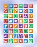 Iconos coloridos para el eshop, convenientes para el diseño plano Fotografía de archivo