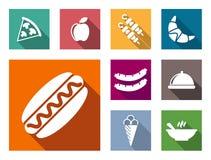 Iconos coloridos planos de la comida Foto de archivo